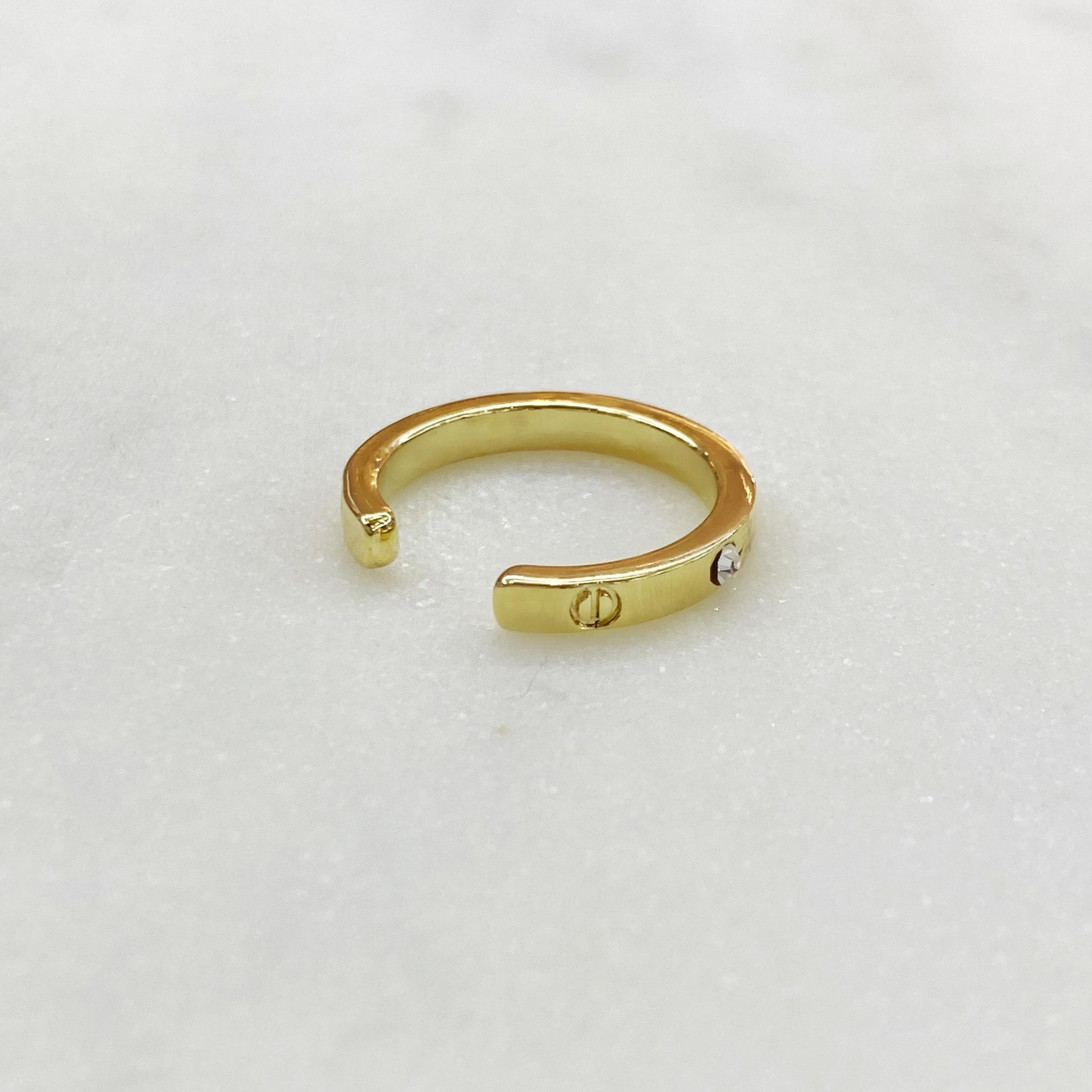 Кафф-зажим Кольцо с цирконами (золотистый)