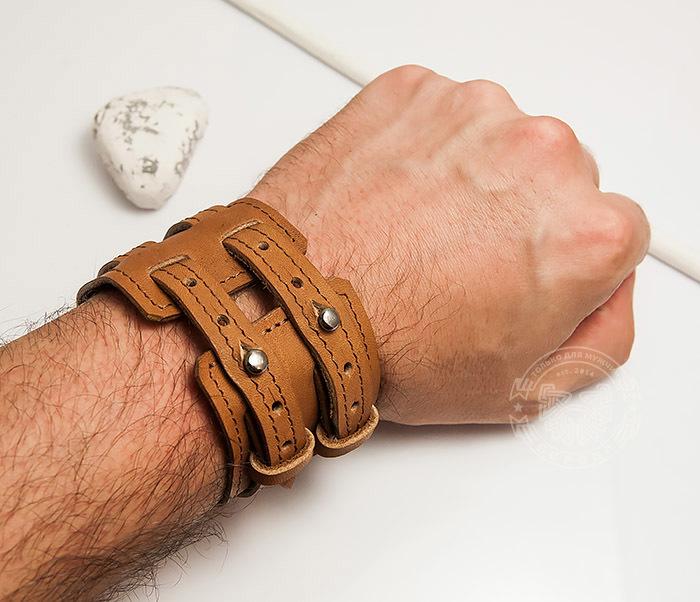 BL391-2 Широкий браслет ручной работы из натуральной кожи. «Boroda Design» фото 05