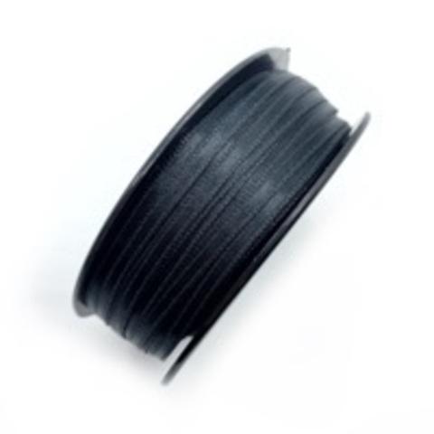Атласная лента 3,5 мм, черная