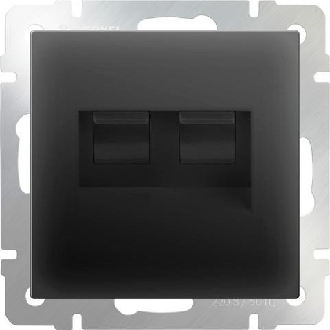 Werkel Розетка W1182108 (WL08-RJ-11+RJ-45) черный матовый (ТФ+комп.) *