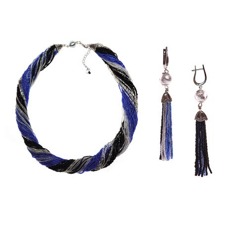 Комплект украшений черно-синий (длинные серьги из бисера, бусы из бисера 36 нитей)