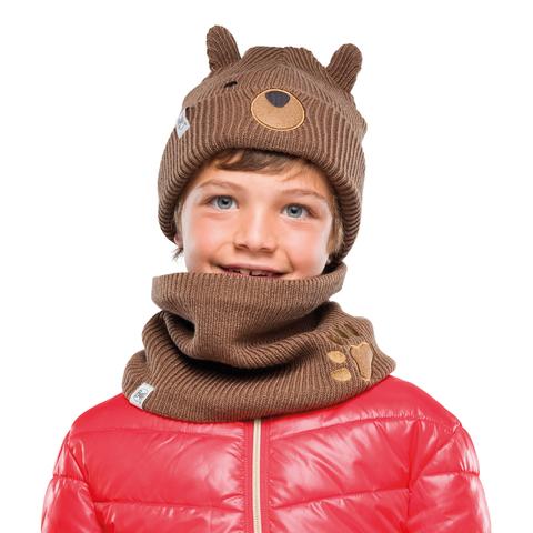 Вязаный шарф-труба с флисом детский Buff Neckwarmer Knitted Polar Funn Bear Fossil фото 2