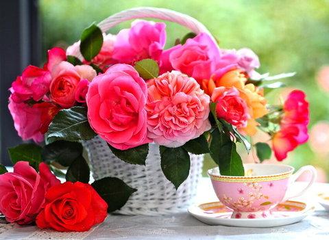 Алмазная Мозаика 5D 40x50 Цветы в корзине и чайная чашка