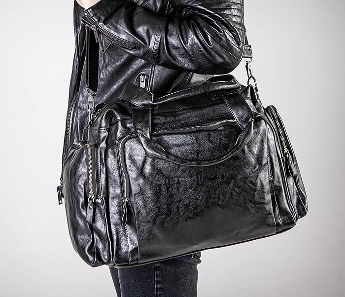 BAG547 Большая кожаная сумка для вещей с длинными ручками фото 05