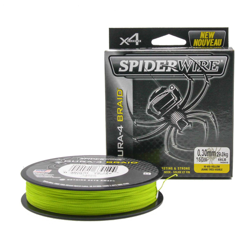 Плетеная леска Spiderwire Dura4 Braid Ярко-желтая 150m 0,30mm Yel
