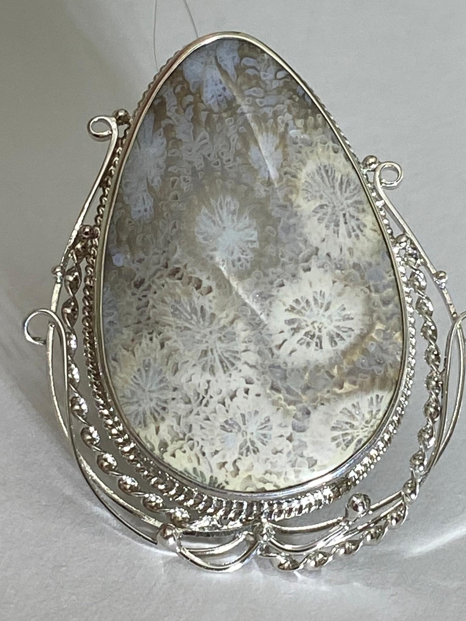 Фоссил груша (кольцо из серебра)