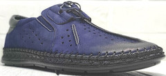 Мужские летние мокасины туфли на шнуровке стиль casual Luciano Bellini 91268-S-321 Black Blue.