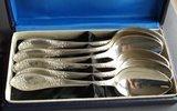 K10030 Набор столовых ложек 6 шт. Мельхиор посеребрение 210 мм. ЗиШ МНЦЦ в футляре