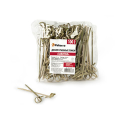 Пики для канапе Paterra Завитки бамбуковые длина 90 мм 100 штук в упаковке (артикул производителя 401-463)