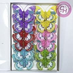 Бабочки перьевые на зажиме, с блеском, 8 см, 1 шт.