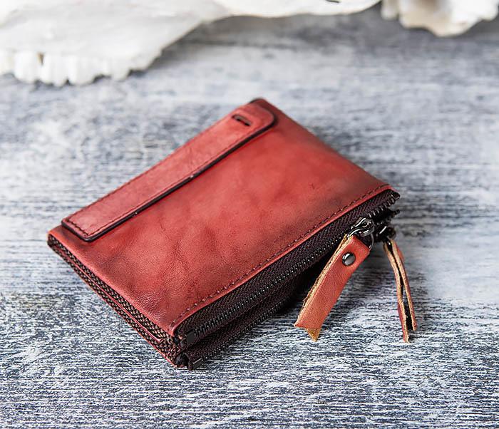 WL302-3 Мужской красный кошелек с отделениями на молнии фото 02