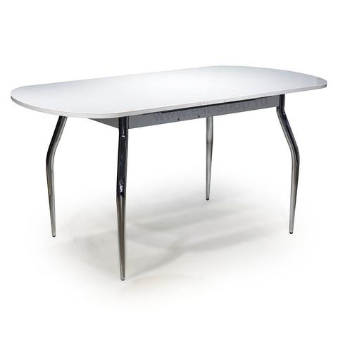 Стол СОЛЬДИ 2 Белый / подстолье белое / исполнение 2 / опора №1 хром / 120(152)х80см
