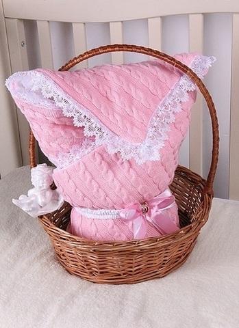 Конверт-одеяло Косичка розовый