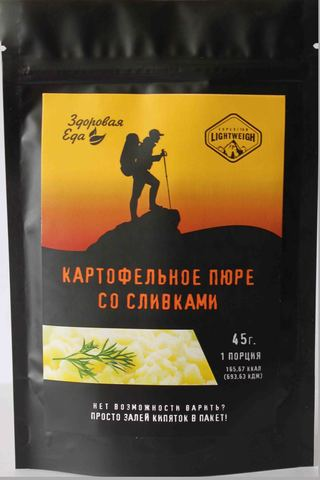 Картофельное пюре со сливками в zip пакете 'Здоровая еда', 45 г