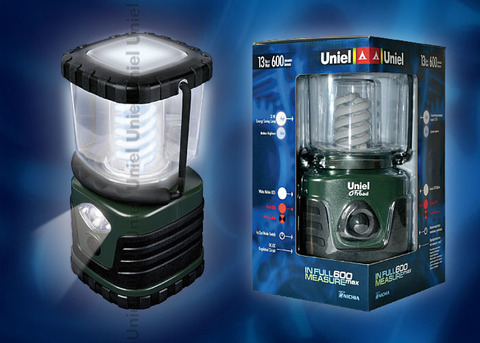 P-TL091-B Green Фонарь Uniel-offroad (Premium) «in full measure — 600 max», пластиковый корпус, 13 W Энергосберегающая лампа, упаковка — цветной короб, 6 х DDD н/к, цвет — зеленый