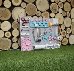 Бизиборд компакт бирюзово-розовый для девочки