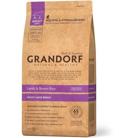 Grandorf для взрослых собак крупных пород, ягненок с коричневым рисом 12 кг