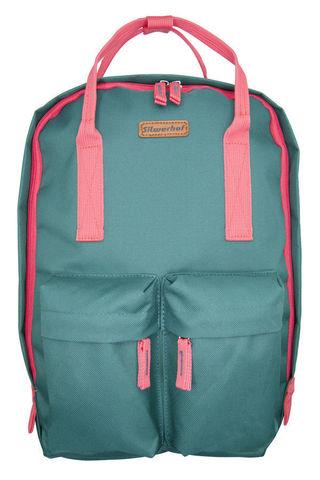 Рюкзак Silwerhof Cube, зеленый/коралловый, 26х7,5х36,5 см, 7 л