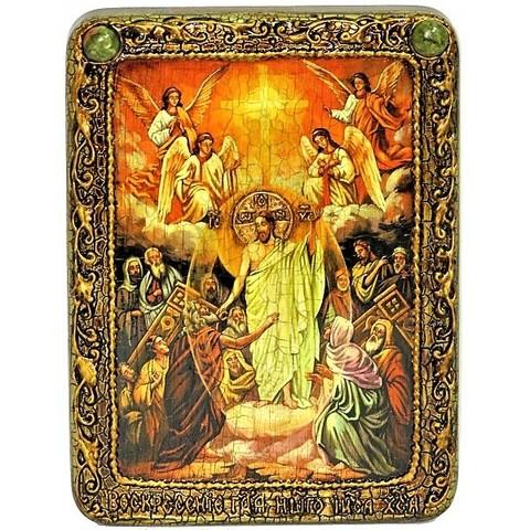 Инкрустированная Икона Воскресение Христово - Пасха (20*15см., Россия) на натуральном дереве, в подарочной коробке