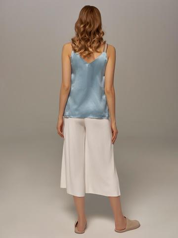 Женский топ голубого цвета из 100% шелка - фото 5