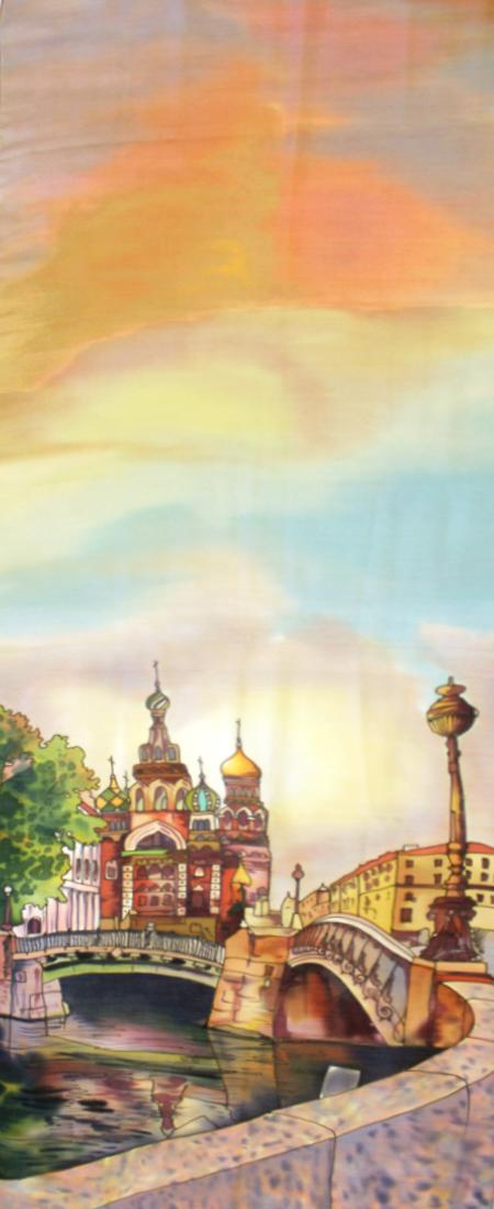 Палантин батик Прогулка по Санкт-Петербургу С-72