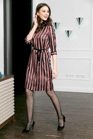 Фото платье в полоску и поясом на завязке - Платье З489-137 (1)