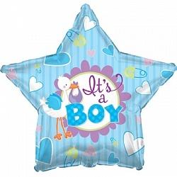 Фольгированный шар Аист принес мальчика 18
