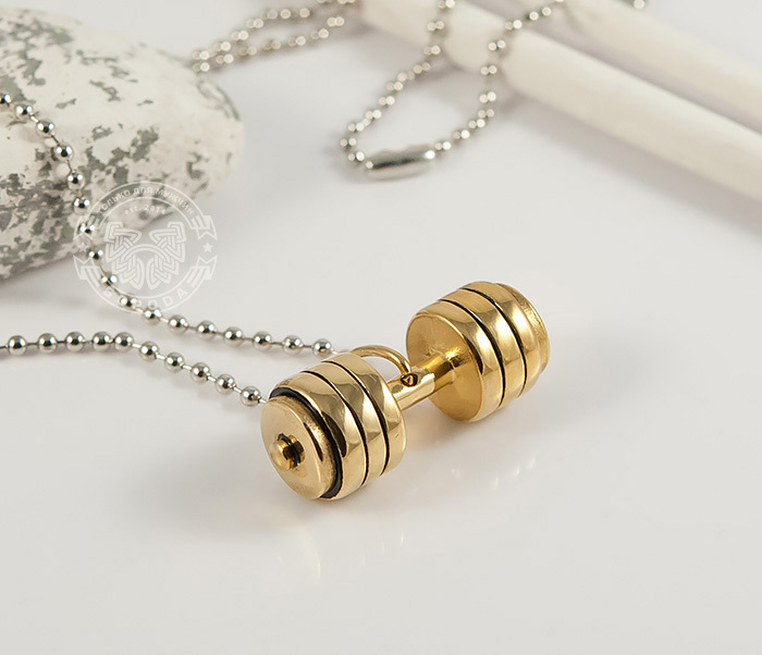 PM236-3 Мужская подвеска «Гантель» (штанга) золотого цвета из ювелирной стали фото 02