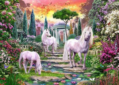 Алмазная Мозаика 40x50 Единороги в сказочном мире