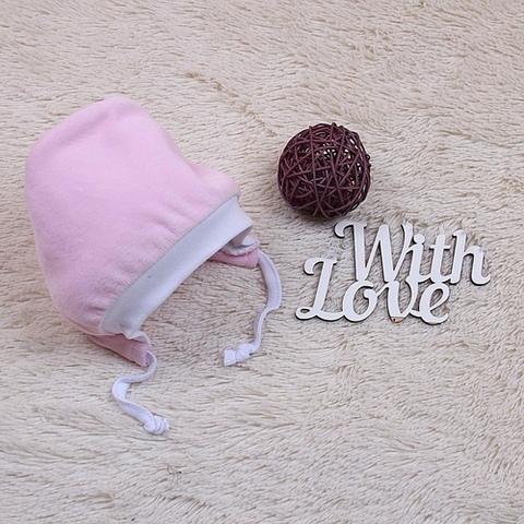 Велюровая шапочка для новорожденных на махре Cool (розовая)
