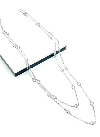 170415- Длинное колье цепочка с фианитами из серебра