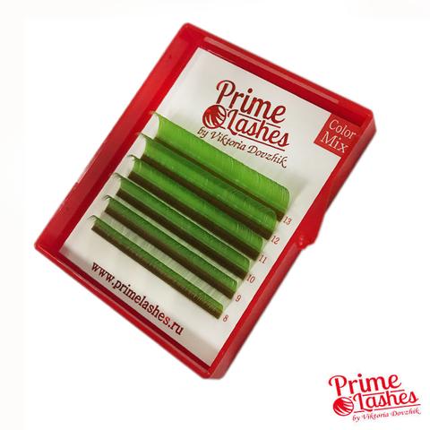 Ресницы Prime Lashes зеленые, микс 6 линий