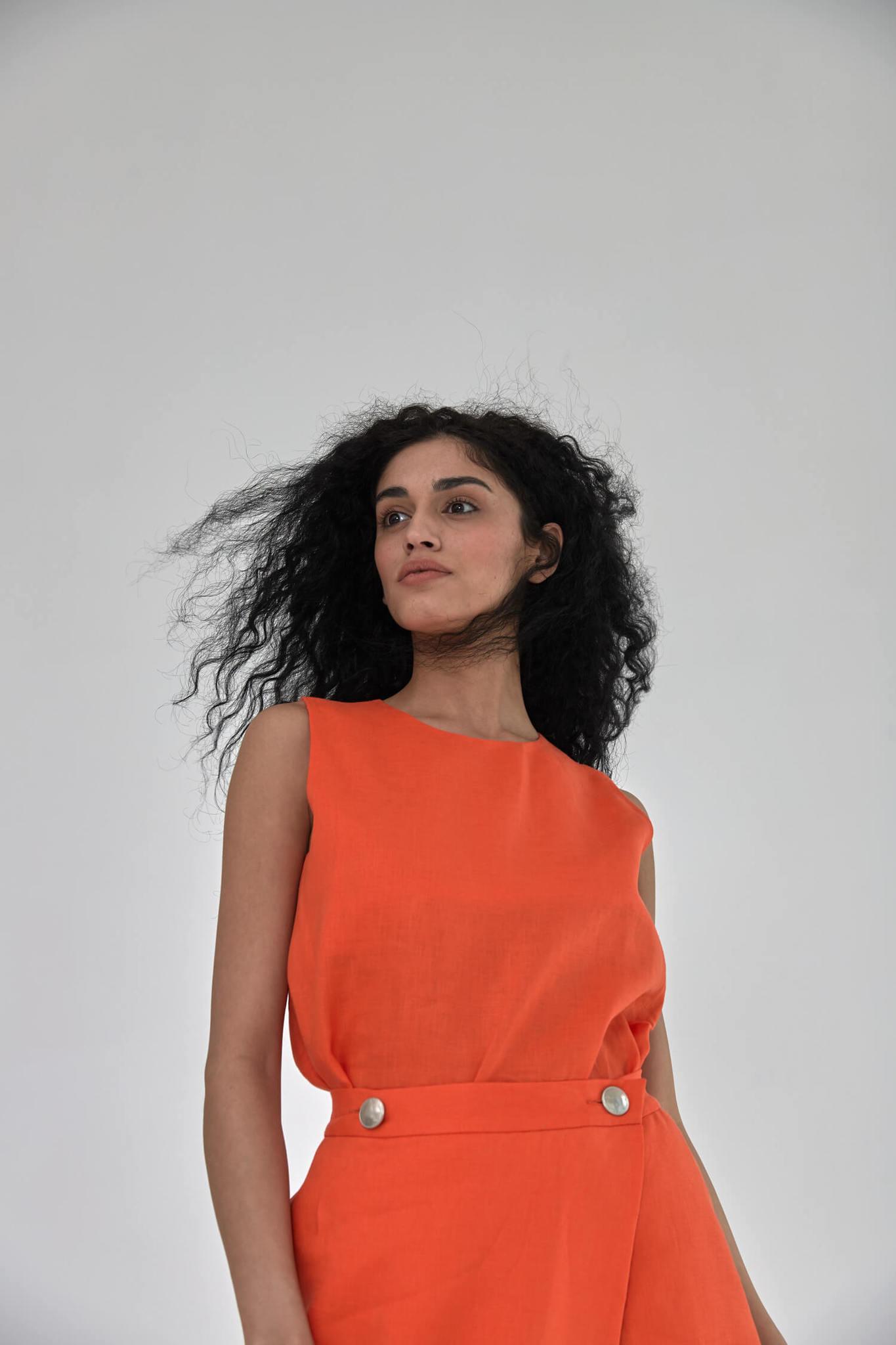 Юбка, лен красный апельсин