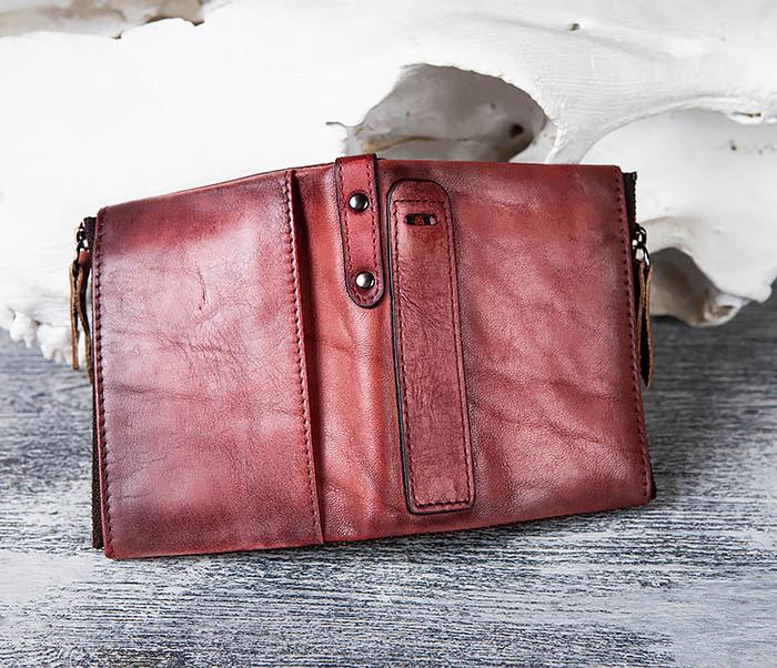 WL302-3 Мужской красный кошелек с отделениями на молнии фото 05