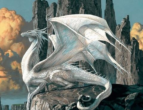 Алмазная Мозаика 5D 40x50 Дракон на камне