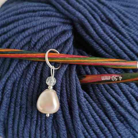 Маркер для вязания спицами, стекло, ручная работа 32мм*10мм, 1шт