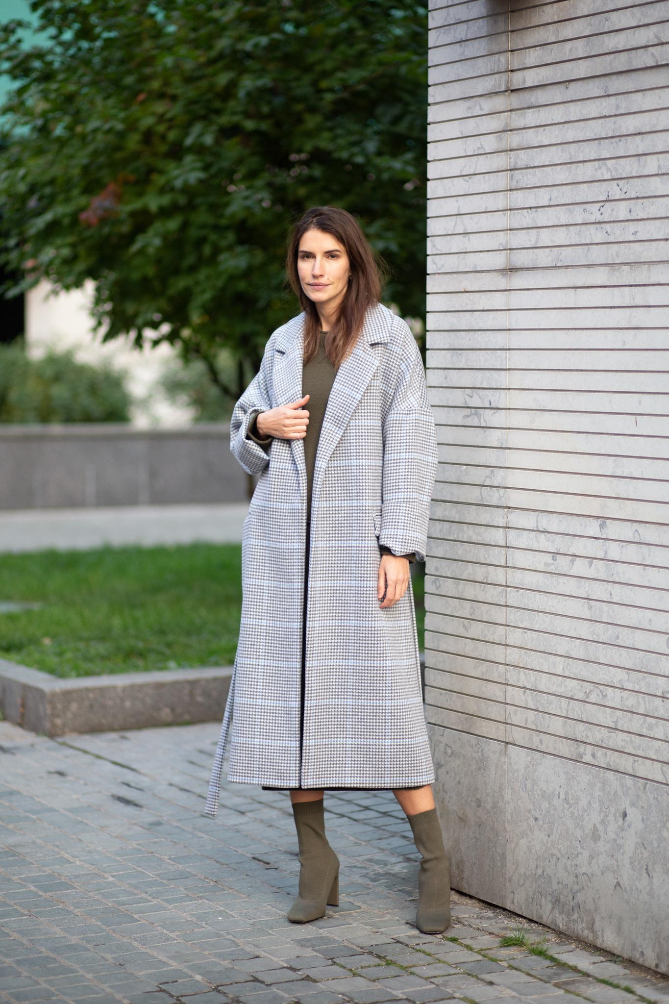 Пальто-халат в голубую клетку