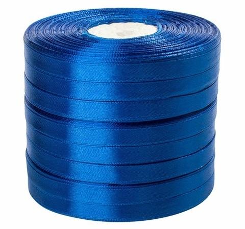 Лента атласная (размер: 10 мм х 50 ярд) Цвет: синяя