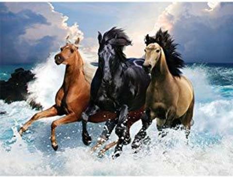 Алмазная Мозаика 40x50 Забег разноцветных лошадей по воде