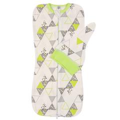 Mini Fox. Комплект пеленка-кокон и шапочка 0-3 мес., зеленые треугольники вид 1
