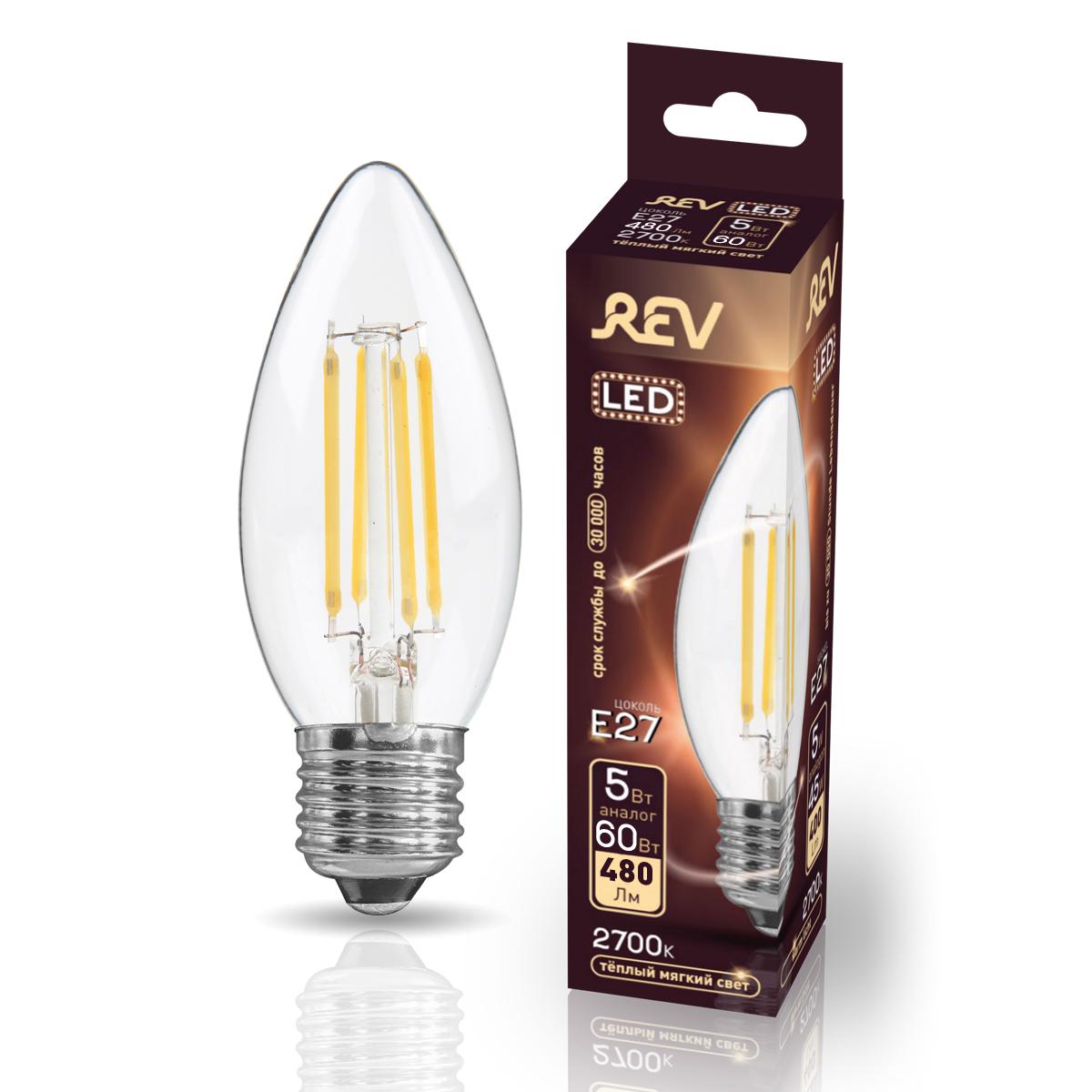 Лампа светодиодная FILAMENT свеча C37 5W E27 2700K DECO Premium теплый свет