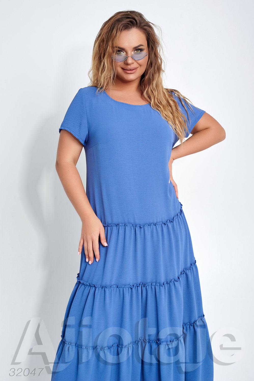 Летнее платье в пол с коротким рукавом