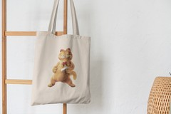Сумка-шоппер с принтом Кот, Кошка, Котенок, Гарлфилд (кошки) бежевая 002
