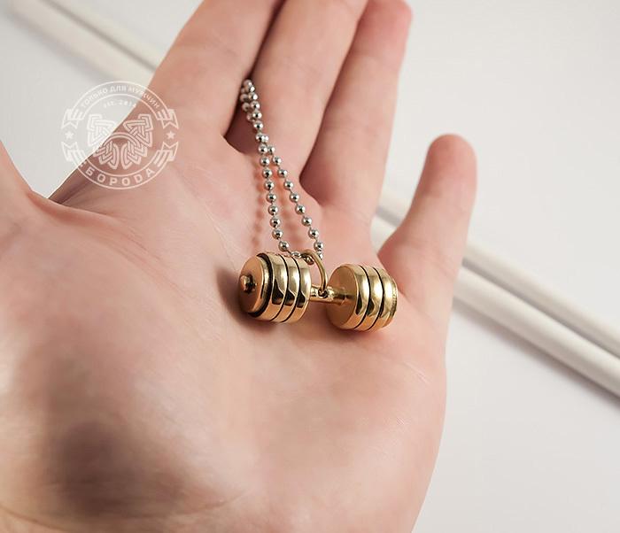 PM236-3 Мужская подвеска «Гантель» (штанга) золотого цвета из ювелирной стали фото 03