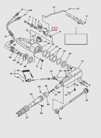 Ручка переключения передач для лодочного мотора T40 Sea-PRO (14-2)