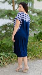 Роксолана літо. Стильна сукня для великих розмірів. Смужка.