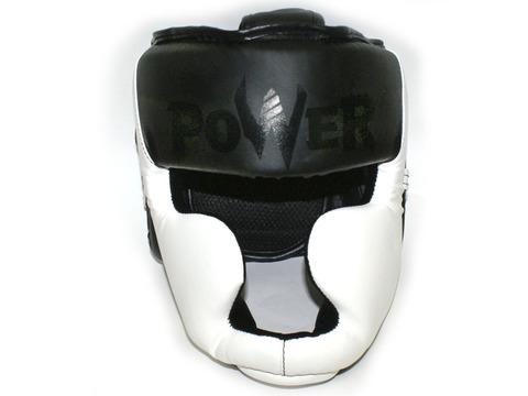 Шлем боксёрский закрытый, индивидуальная упаковка. Материал: кожзаменитель. Усиленная защита области ушей, сзади застежка на липучке. Цвета: белый с чёрными вставками, размер L. HT-L-Б