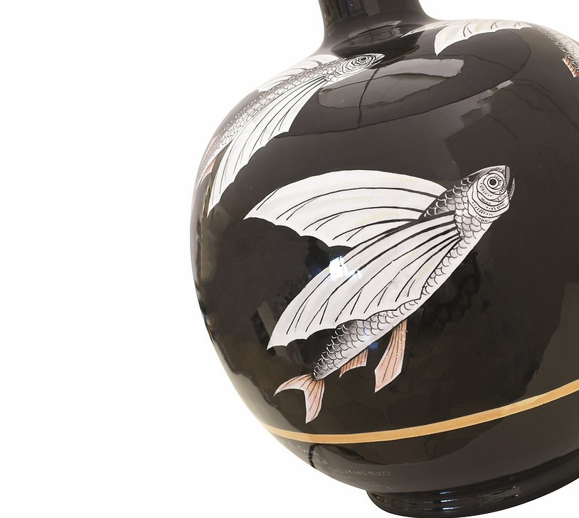 Ceramic lamp with white shade Flying Fish collection