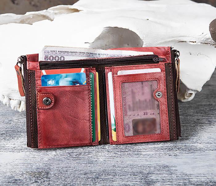 WL302-3 Мужской красный кошелек с отделениями на молнии фото 08
