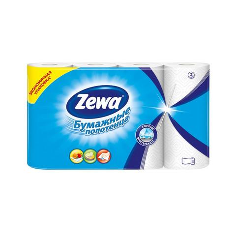 Полотенца бумажные Zewa 2-слойные белые 4 рулона по 14 метров